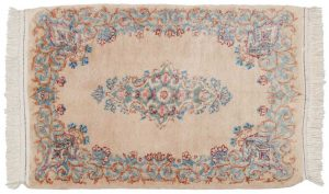 2×3 Semi-Antique Persian Kerman Oriental Peach Hand-Knotted Rug