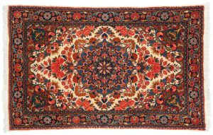 2×3 Persian Malayer Oriental Beige Hand-Knotted Rug