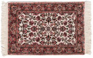2×3 Vintage Persian Oriental Ivory Hand-Knotted Rug