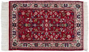 2×3 Vintage Persian Oriental Red Hand-Knotted Rug