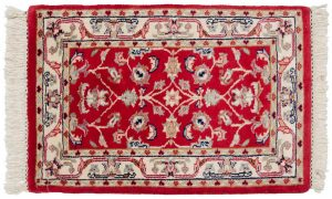2×3 Vintage Table Cover Oriental Red Hand-Knotted Rug