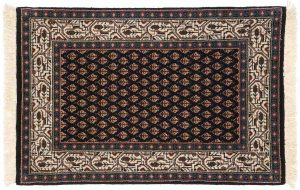 2×3 Sarouk Oriental Black Hand-Knotted Rug