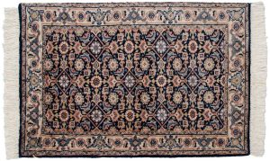 2×3 Vintage Sarouk Oriental Blue Hand-Knotted Rug