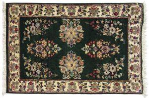 2×3 Vintage Sarouk Oriental Green Hand-Knotted Rug