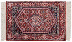 2×3 Vintage Sarouk Oriental Red Hand-Knotted Rug