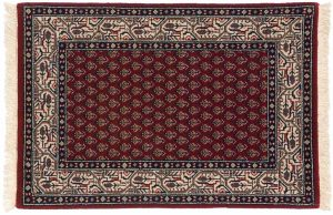 2×3 Sarouk Oriental Red Hand-Knotted Rug