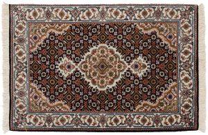 2×3 Tabriz Oriental Black Hand-Knotted Rug