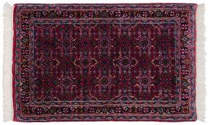 2×4 Bijar Oriental Red Hand-Knotted Rug