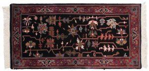 2×4 Vintage Heriz Oriental Black Hand-Knotted Rug