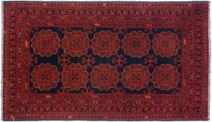 2×4 Khal Mohmd Oriental Black Hand-Knotted Rug