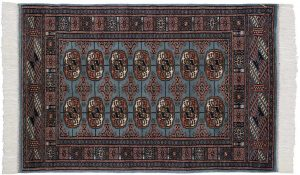 2×4 Vintage Bokhara Oriental Blue Hand-Knotted Rug