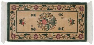 2×4 Semi-Antique Dantsu Oriental Ivory Hand-Knotted Rug