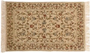 2×4 European Oriental Ivory Hand-Knotted Rug