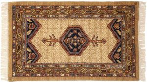 2×4 Hamadan Oriental Ivory Hand-Knotted Rug