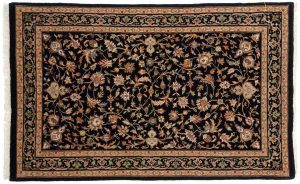 2×4 Isfahan Oriental Black Hand-Knotted Rug
