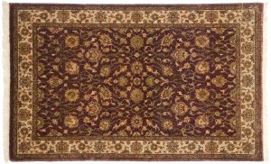 2×4 Kashan Oriental Brown Hand-Knotted Rug