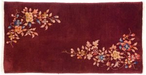 2×4 Semi-Antique Nichols Oriental Burgundy Hand-Knotted Rug