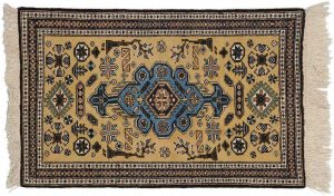 2×4 Persian Ardebil Oriental Yellow Hand-Knotted Rug