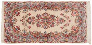 2×4 Persian Kerman Oriental Ivory Hand-Knotted Rug