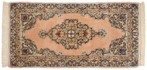 2×4 Semi-Antique Persian Kerman Oriental Peach Hand-Knotted Rug Runner