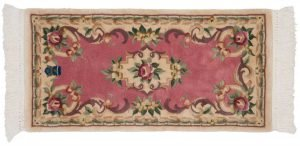 2×4 Semi-Antique Savonnerie Oriental Rose Hand-Knotted Rug