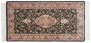 2×4 Tabriz Oriental Blue Hand-Knotted Rug
