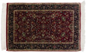 2×4 Tabriz Oriental Red Hand-Knotted Rug
