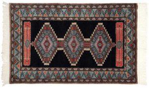 2×4 Vintage Turkmen Oriental Blue Hand-Knotted Rug