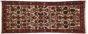 2×5 Persian Dargezine Oriental Ivory Hand-Knotted Rug