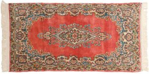 2×5 Semi-Antique Persian Kerman Oriental Rose Hand-Knotted Rug