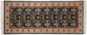 2×7 Caucasian Oriental Green Hand-Knotted Rug Runner