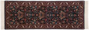 2×7 Kashan Oriental Blue Hand-Knotted Rug Runner