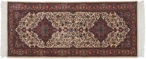 2×7 Kashan Oriental Ivory Hand-Knotted Rug Runner