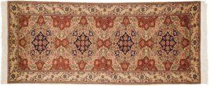 2×7 Vintage Persian Oriental Beige Hand-Knotted Rug Runner