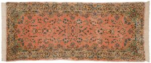 2×7 Persian Kerman Oriental Rose Hand-Knotted Rug Runner