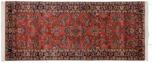 2×7 Vintage Sarouk Oriental Red Hand-Knotted Rug Runner