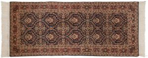 2×7 Vintage Yezd Oriental Blue Hand-Knotted Rug Runner