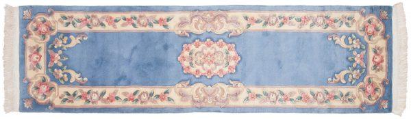 2x9 aubusson blue oriental rug runner 018929