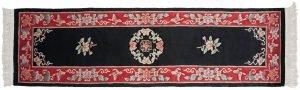 2×9 Vintage Peking Oriental Black Hand-Knotted Rug Runner