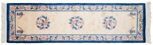 2×9 Vintage Peking Oriental Ivory Hand-Knotted Rug Runner