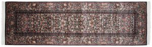 3×10 Aubusson Oriental Black Hand-Knotted Rug Runner