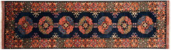 3x10 ersari blue oriental rug runner 048863