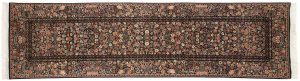 3×11 Aubusson Oriental Black Hand-Knotted Rug Runner