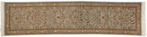 3×12 Persian Tabriz Oriental Blue Hand-Knotted Rug Runner