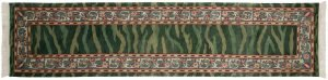 3×12 Vintage William Morris Oriental Green Hand-Knotted Rug Runner