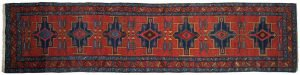3×14 Semi-Antique Persian Atraf Oriental Red Hand-Knotted Rug Runner