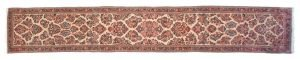3×18 Persian Sarouk Oriental Ivory Hand-Knotted Rug Runner