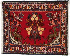 3×3 Persian Borchalou Oriental Red Hand-Knotted Square Rug