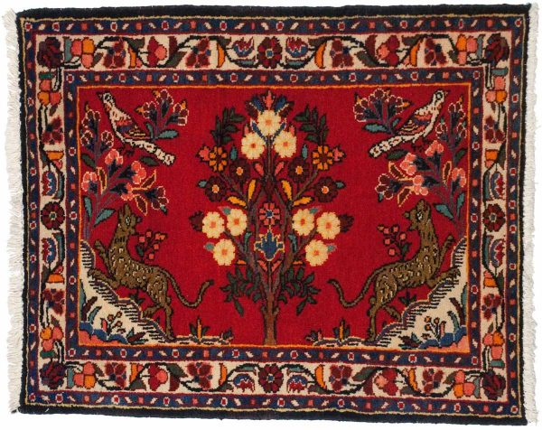 3x3 persian borchalou red oriental square rug 034830