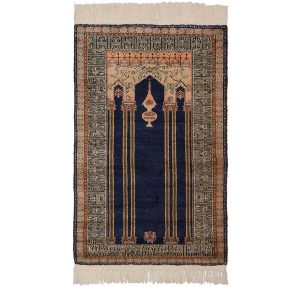 3×4 Caesaria Oriental Blue Hand-Knotted Rug
